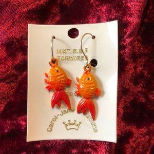 Tiny Koi Earrings 14k gold wires